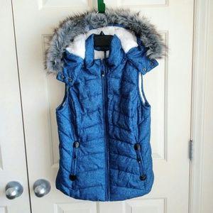 Green Tea Cloth Winter Vest Jacket With Hood
